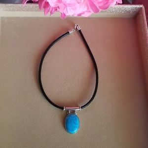Vintage Sterling Silver Turquoise Leather Chocker